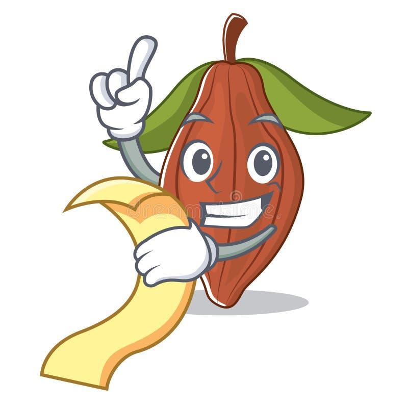 Con la historieta de la mascota de la haba del cacao del menú ilustración del vector