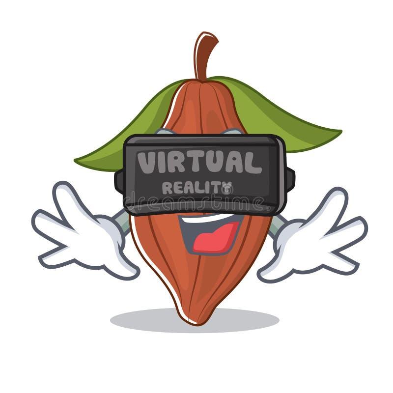 Con la historieta de la mascota de la haba del cacao de la realidad virtual stock de ilustración