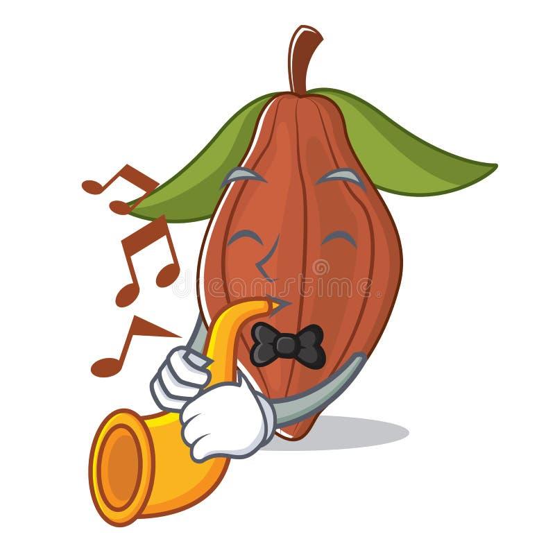 Con la historieta de la mascota de la haba del cacao de la trompeta ilustración del vector