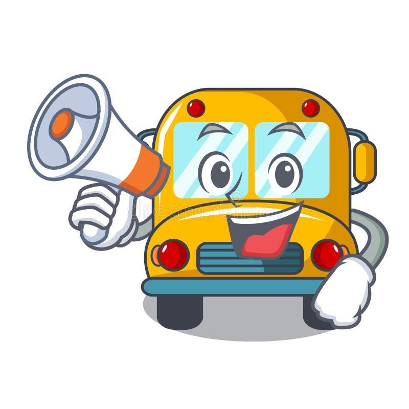 Con la historieta del carácter del autobús escolar del megáfono stock de ilustración