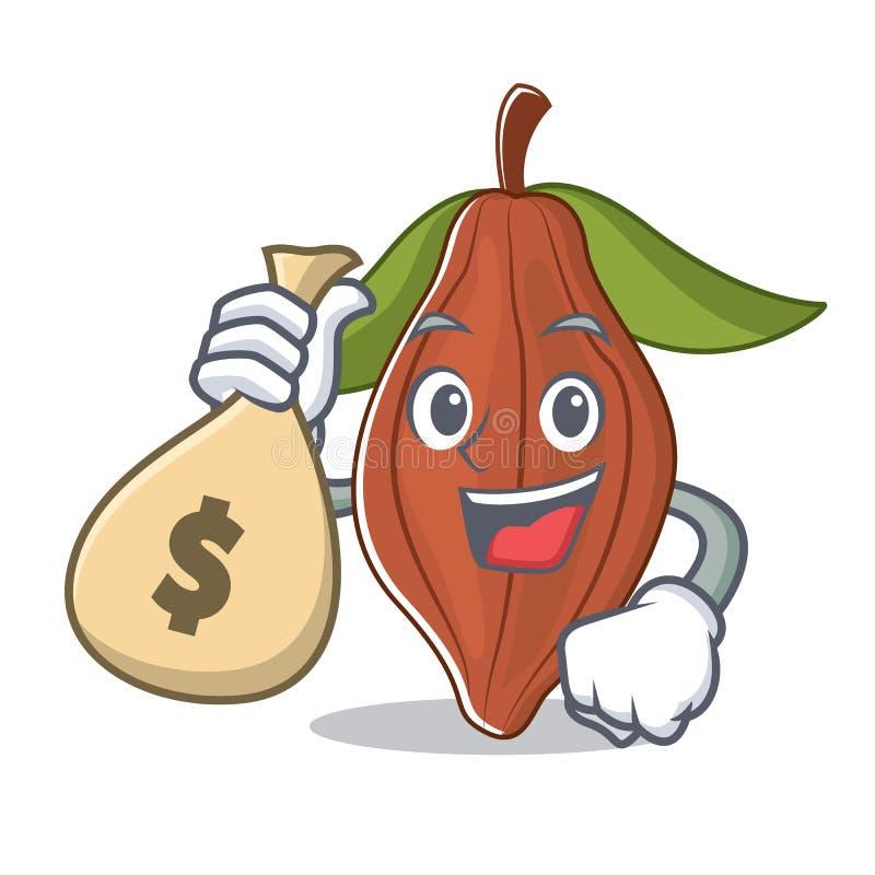 Con la historieta del carácter de la haba del cacao del bolso del dinero stock de ilustración