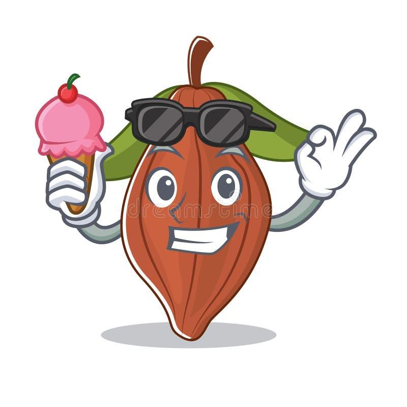 Con la historieta del carácter de la haba del cacao del helado stock de ilustración