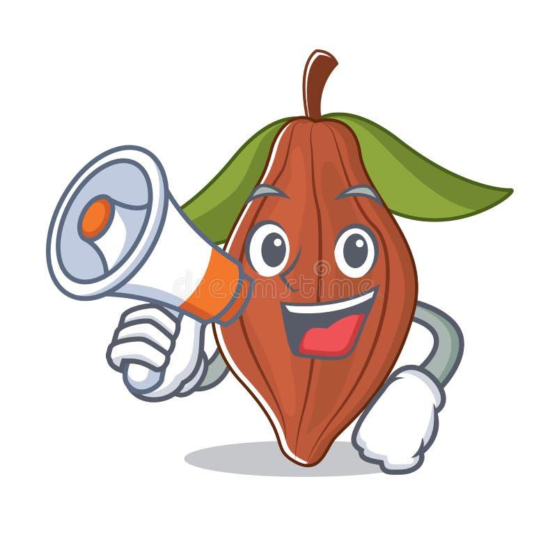 Con la historieta del carácter de la haba del cacao del megáfono ilustración del vector