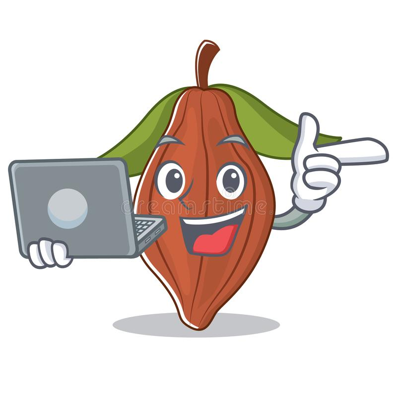 Con la historieta del carácter de la haba del cacao del ordenador portátil libre illustration