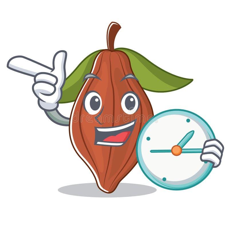 Con la historieta del carácter de la haba del cacao del reloj libre illustration