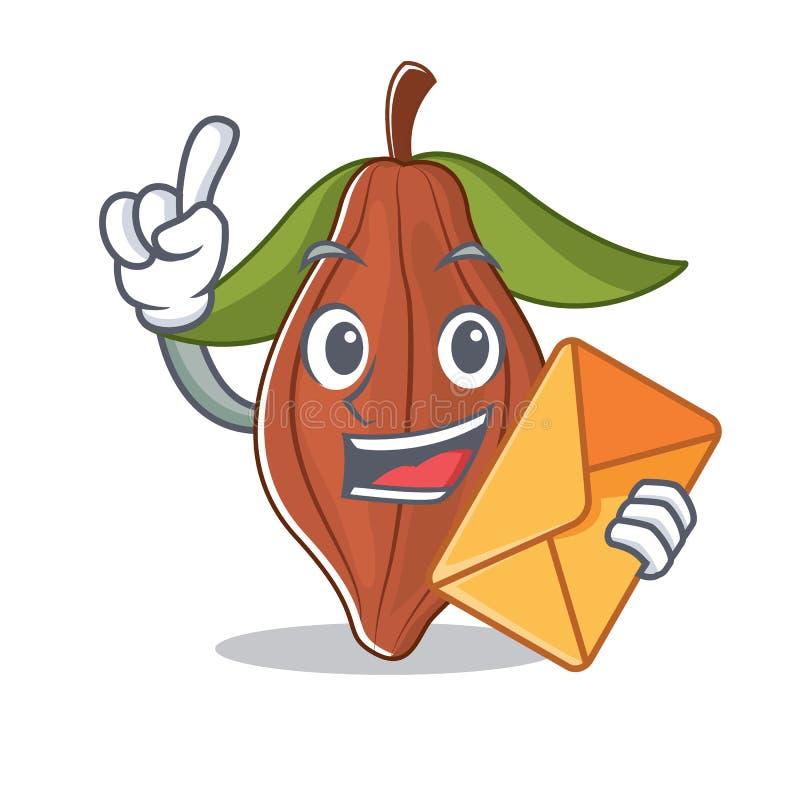 Con la historieta del carácter de la haba del cacao del sobre stock de ilustración