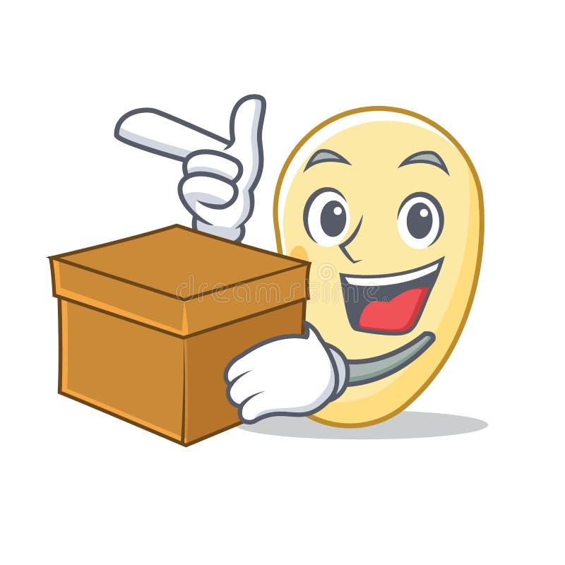 Con la historieta del carácter de la haba de la soja de la caja stock de ilustración