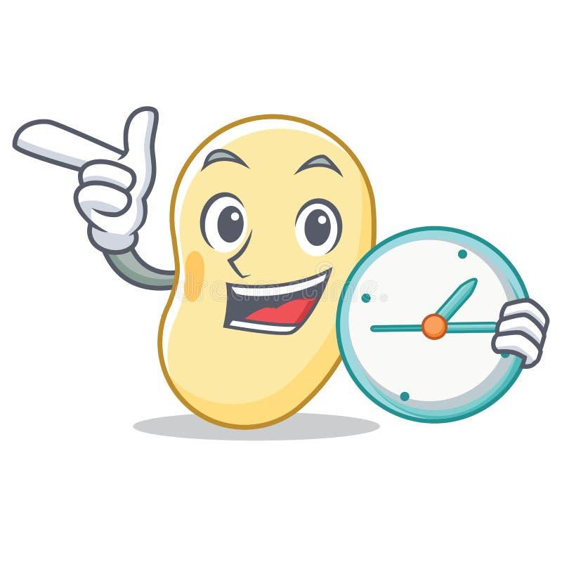 Con la historieta del carácter de la haba de la soja del reloj stock de ilustración