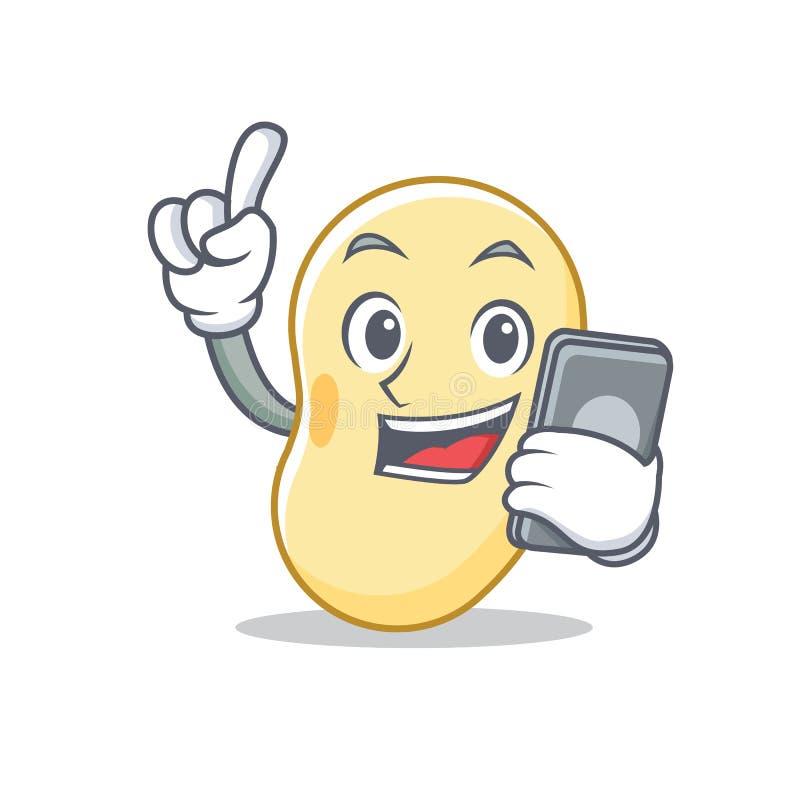 Con la historieta del carácter de la haba de la soja del teléfono stock de ilustración