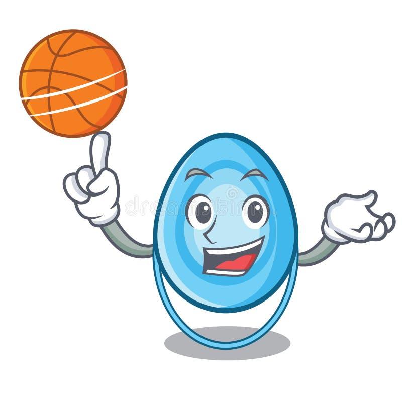 Con la historieta del carácter de la máscara de oxígeno del baloncesto stock de ilustración