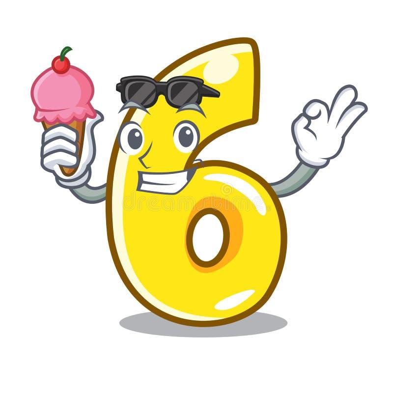 Con la historieta número seis del helado en el camino ilustración del vector