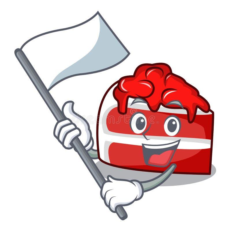 Con la historieta roja de la mascota del terciopelo de la bandera stock de ilustración