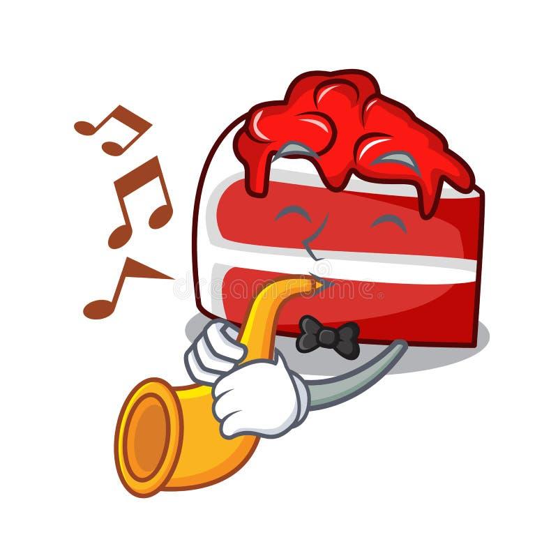 Con la historieta roja de la mascota del terciopelo de la trompeta ilustración del vector