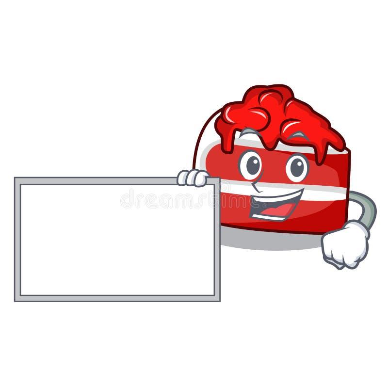 Con la historieta roja del carácter del terciopelo del tablero stock de ilustración