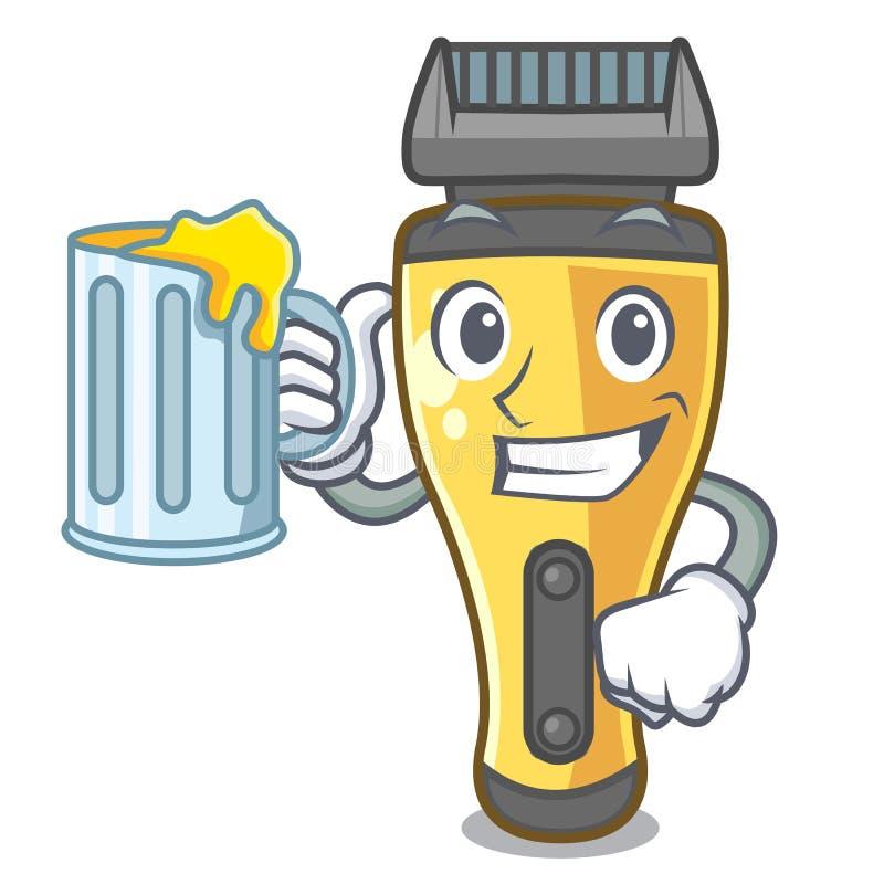 Con la máquina de afeitar eléctrica del jugo aislada con en la mascota stock de ilustración