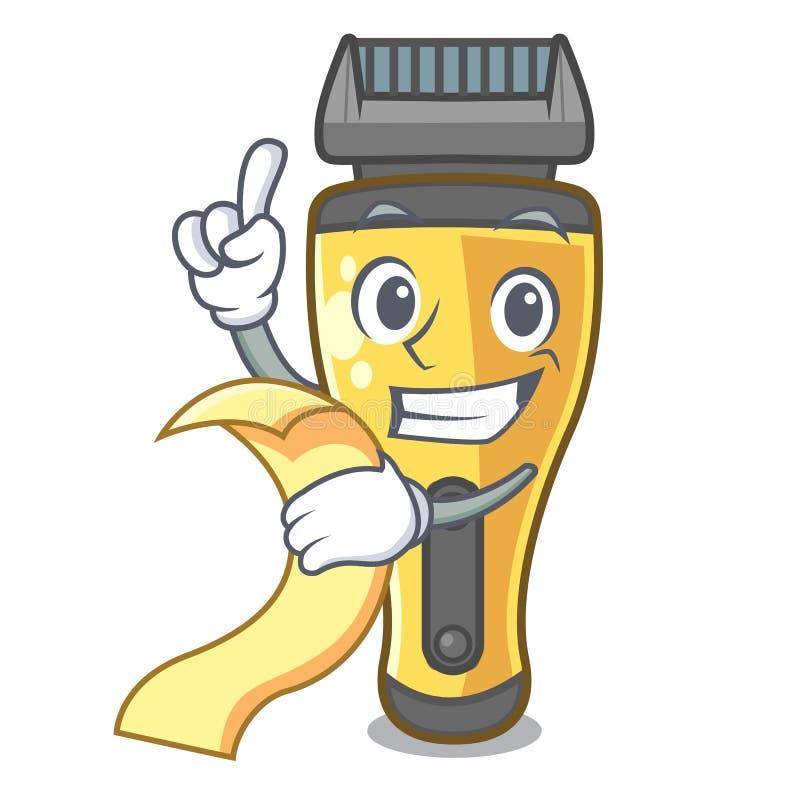 Con la máquina de afeitar eléctrica del menú aislada con en la mascota ilustración del vector