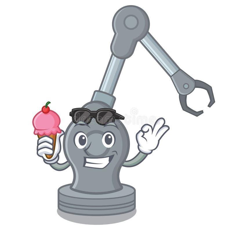 Con la máquina robótica del brazo del juguete del helado en forma de la historieta stock de ilustración