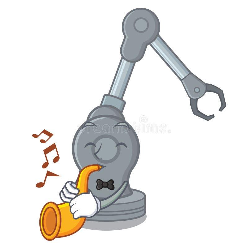 Con la macchina robot del braccio della tromba nella mascotte illustrazione vettoriale