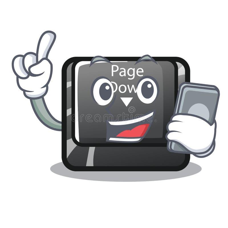 Con la pagina del carattere del telefono giù il computer installato bottone illustrazione di stock