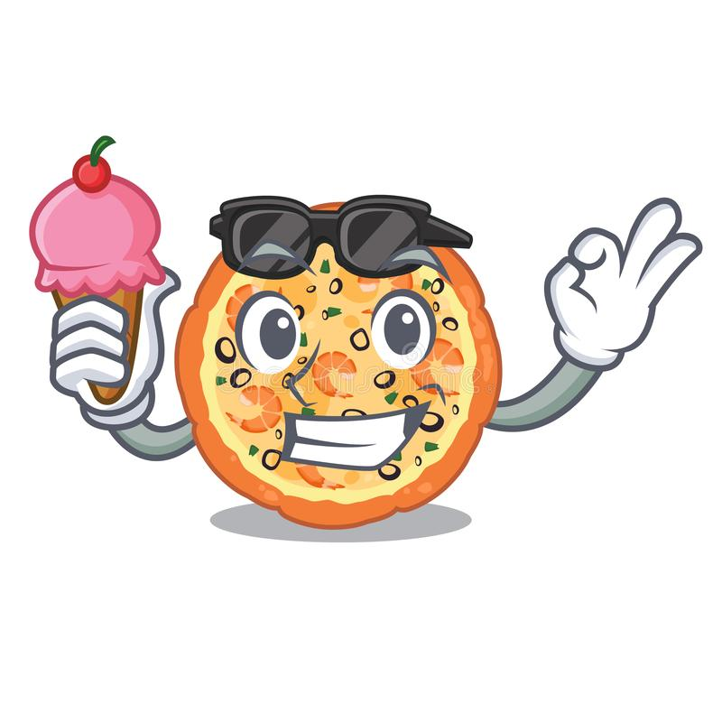 Con la pizza de los mariscos del helado aislada con en la historieta ilustración del vector