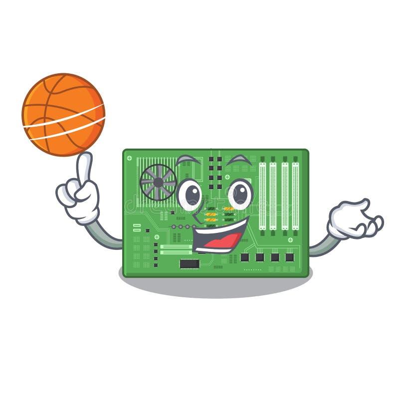 Con la placa madre del baloncesto aislada con en el characater ilustración del vector