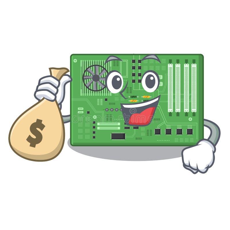 Con la placa madre del bolso del dinero aislada con en el characater ilustración del vector