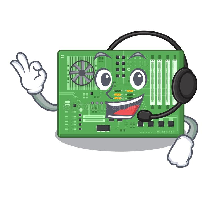 Con la placa madre del juguete del auricular en un bolso de la mascota stock de ilustración