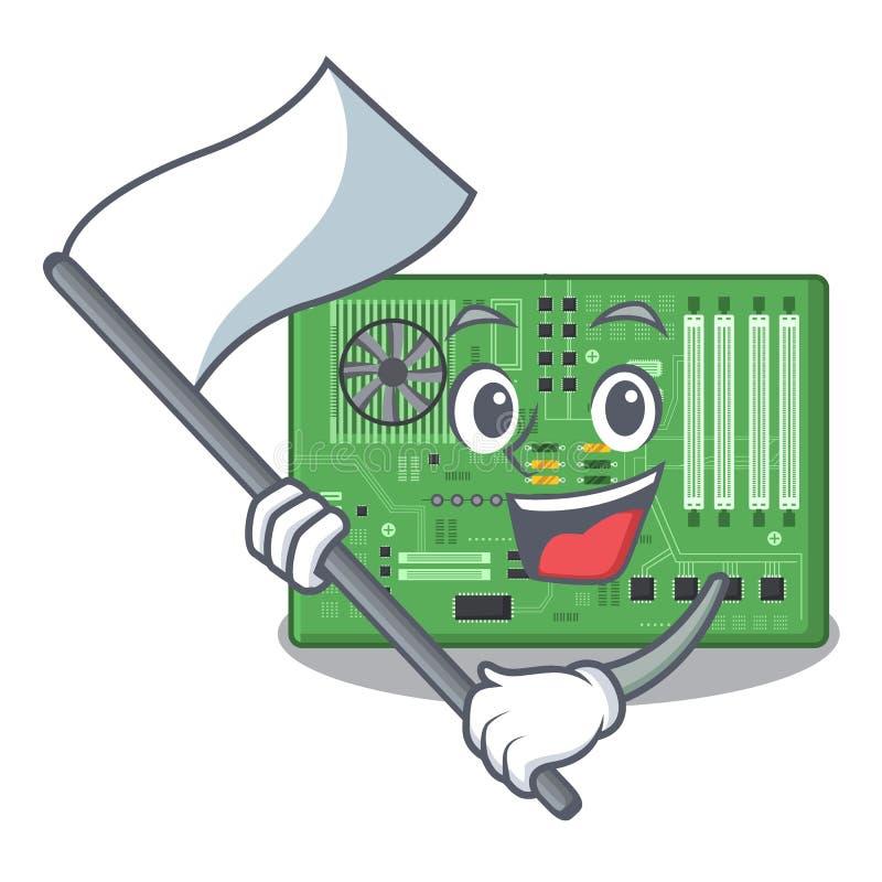 Con la placa madre del juguete de la bandera en un bolso de la mascota stock de ilustración