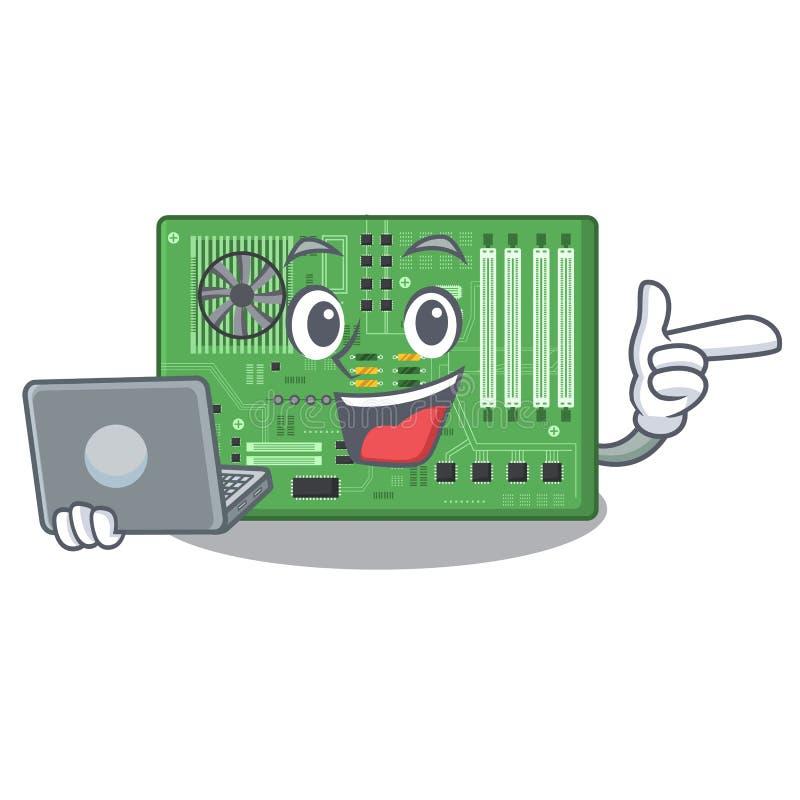 Con la placa madre del ordenador port?til aislada con en el characater libre illustration
