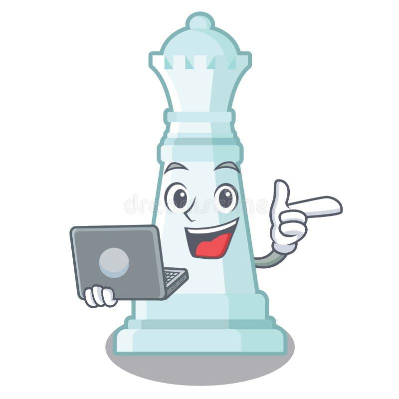 Con la regina di scacchi del computer portatile isolata nel carattere royalty illustrazione gratis