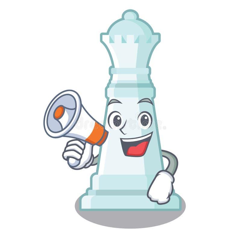 Con la regina di scacchi del megafono isolata nel carattere illustrazione vettoriale