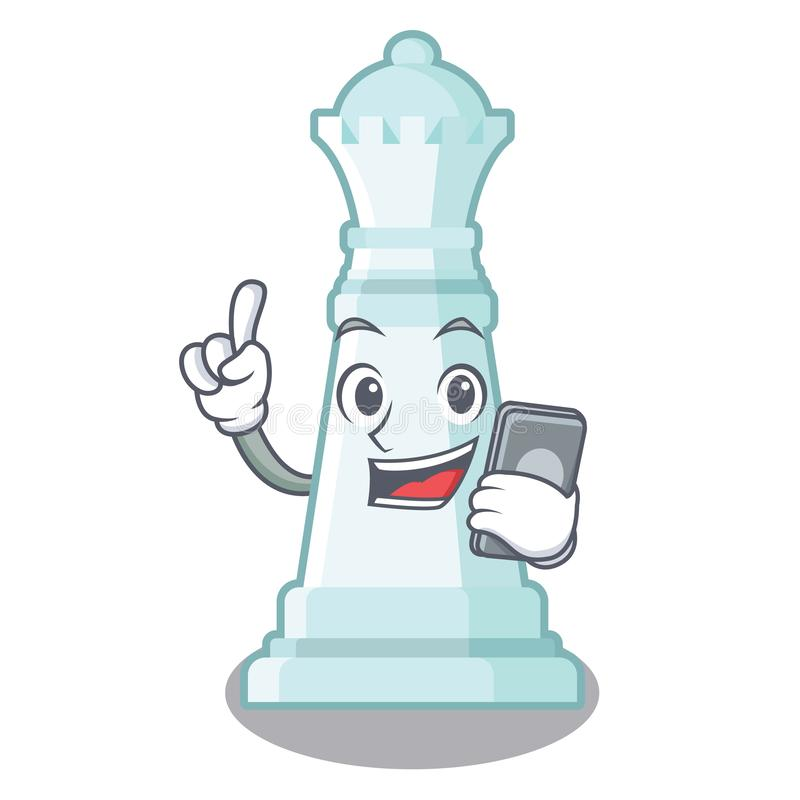 Con la regina di scacchi del telefono isolata nel carattere illustrazione vettoriale