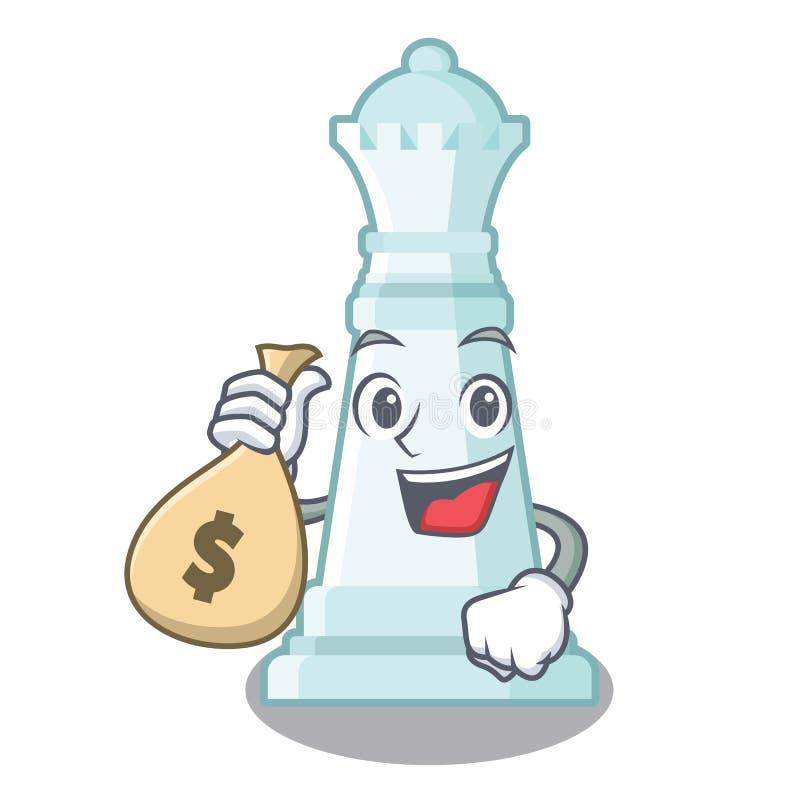 Con la regina di scacchi della borsa dei soldi isolata nel carattere illustrazione vettoriale