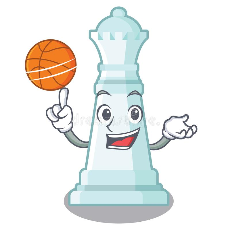 Con la regina di scacchi di pallacanestro isolata nel carattere illustrazione vettoriale