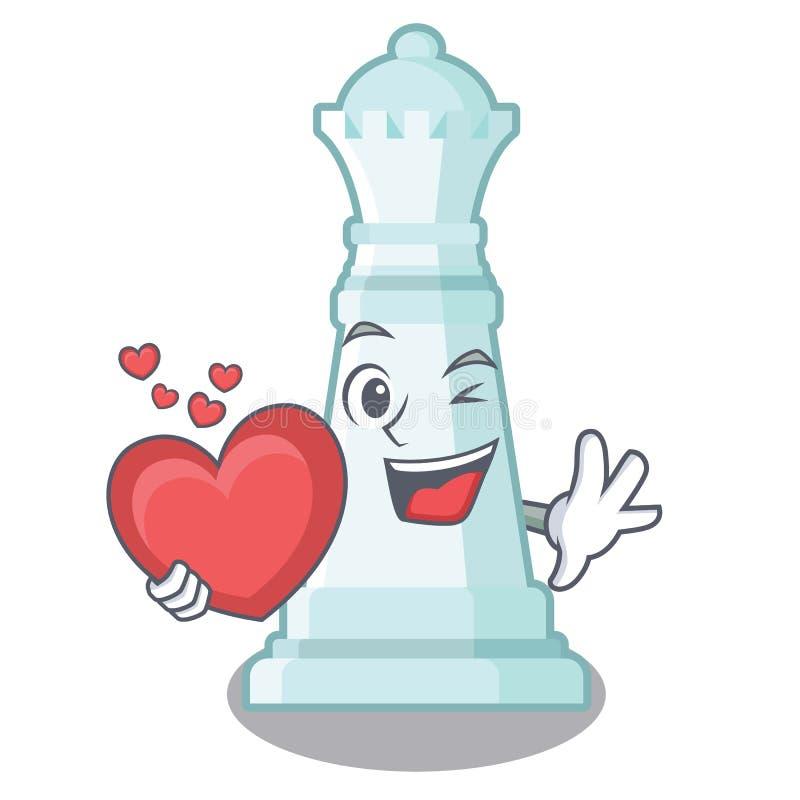 Con la reina del ajedrez del corazón en la forma de la historieta stock de ilustración