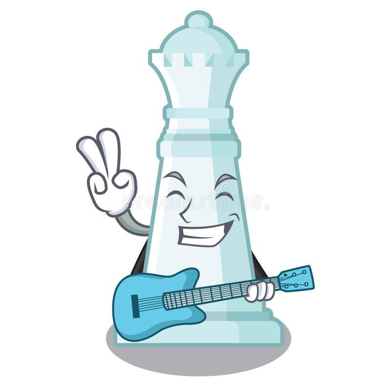 Con la reina del ajedrez de la guitarra en la forma de la historieta libre illustration