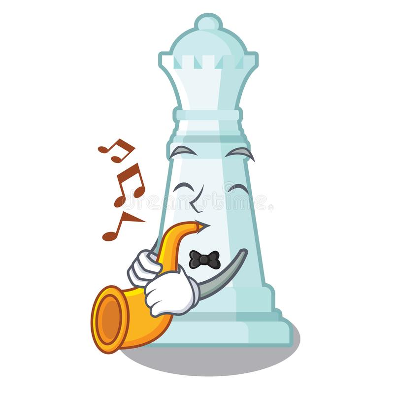 Con la reina del ajedrez de la trompeta en la forma de la historieta stock de ilustración