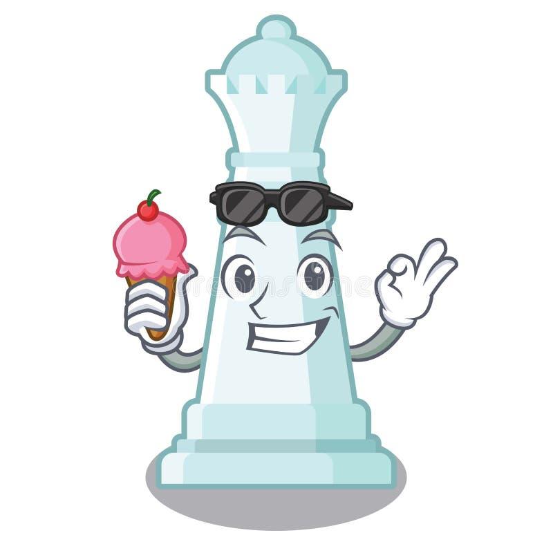 Con la reina del ajedrez del helado en el tablero de ajedrez de la mascota ilustración del vector