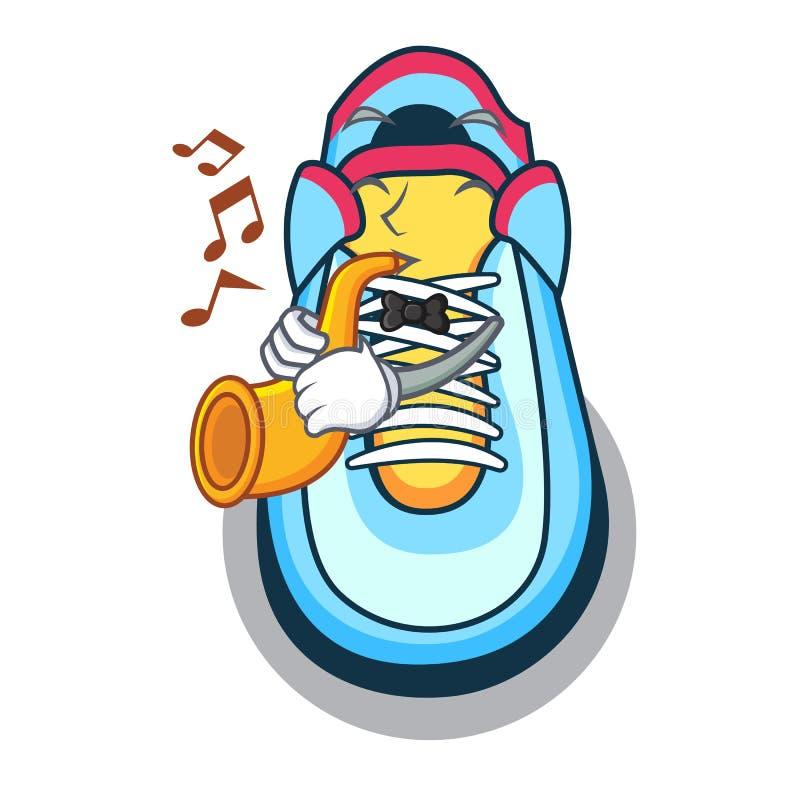Con la scarpa da tennis del fumetto della tromba con il dito del piede di gomma illustrazione vettoriale