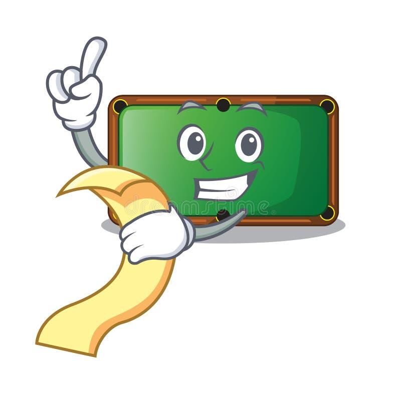 Con la tabla de billar del menú en la sala de juegos de la mascota stock de ilustración