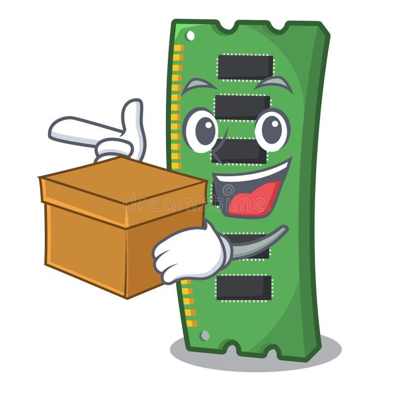 Con la tarjeta de la memoria ram de la caja la forma de la mascota ilustración del vector