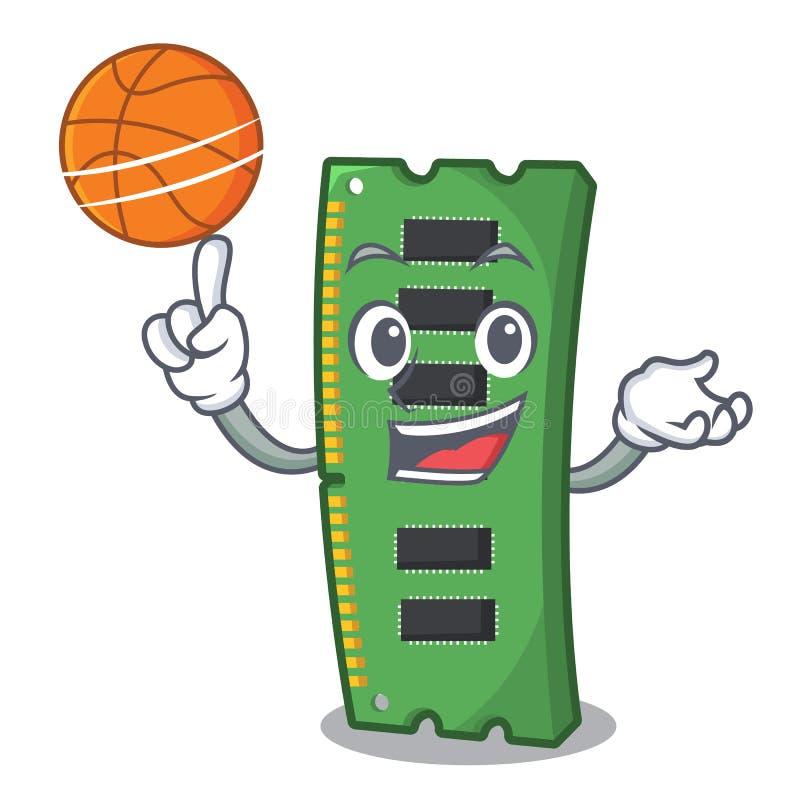 Con la tarjeta de la memoria ram del baloncesto aislada en historieta ilustración del vector