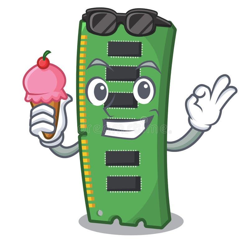 Con la tarjeta de la memoria ram del helado la forma de la mascota ilustración del vector