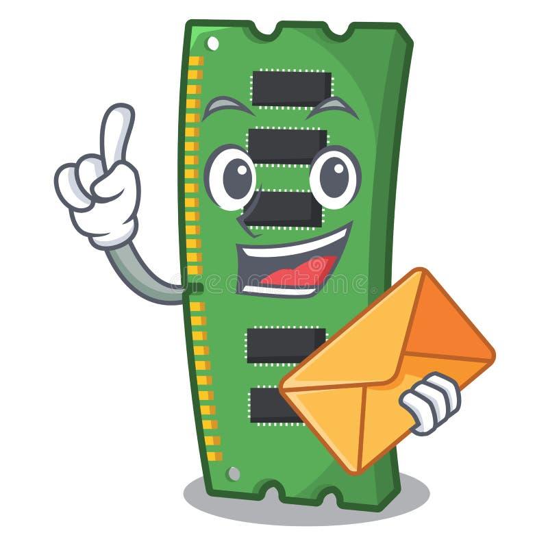 Con la tarjeta de la memoria ram del sobre la forma de la mascota libre illustration