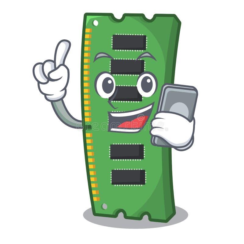 Con la tarjeta de la memoria ram del teléfono aislada en historieta ilustración del vector