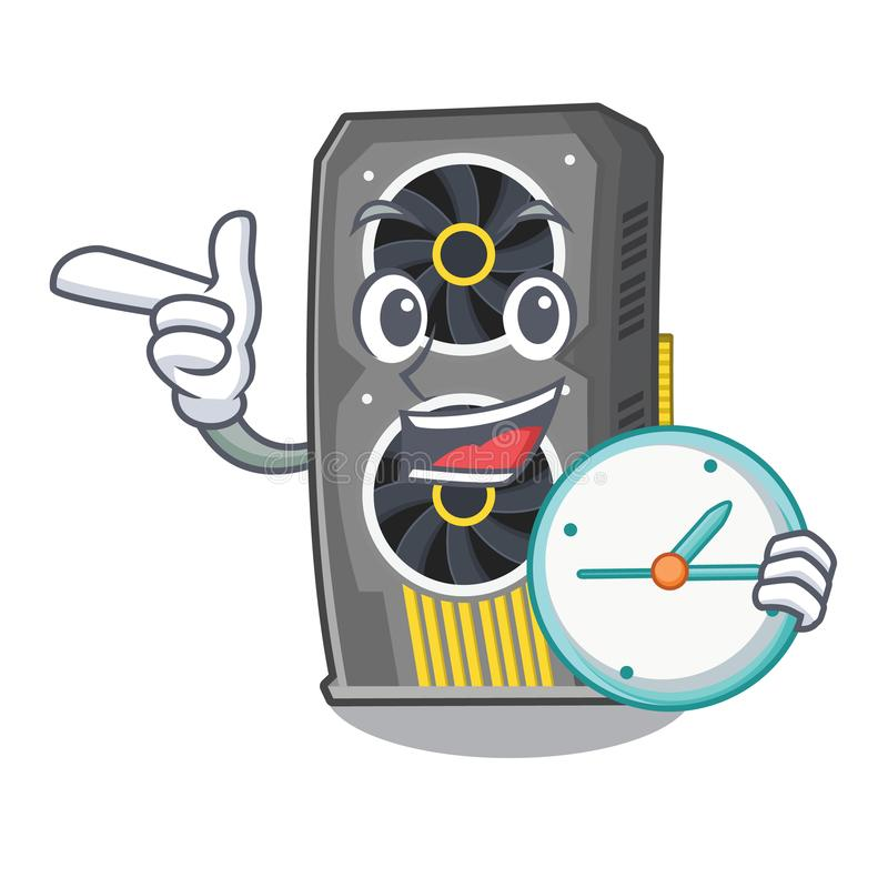 Con la video carta grafica dell'orologio isolata con il fumetto illustrazione vettoriale