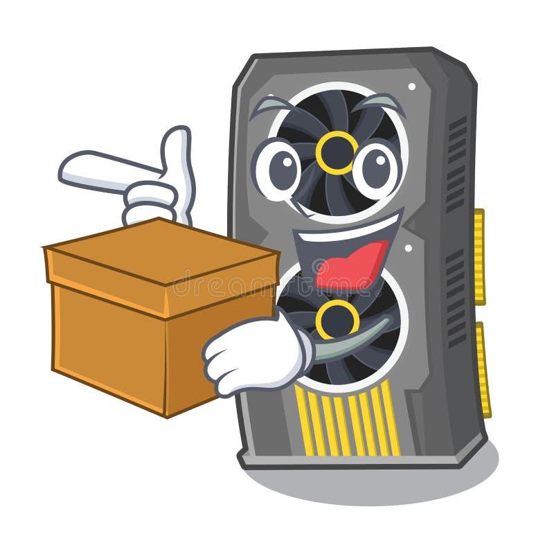 Con la video carta grafica della scatola isolata con il fumetto illustrazione vettoriale
