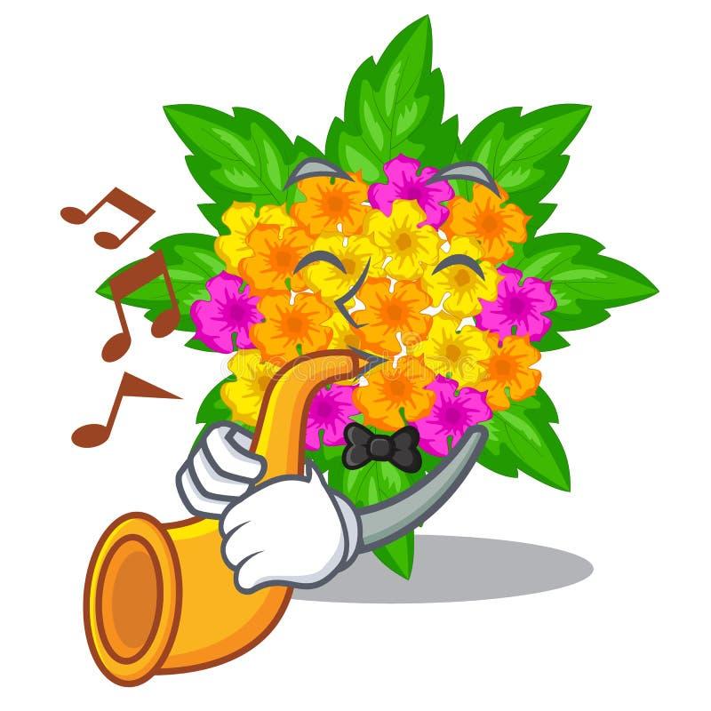 Con las flores del lantana de la trompeta en la forma de la historieta ilustración del vector