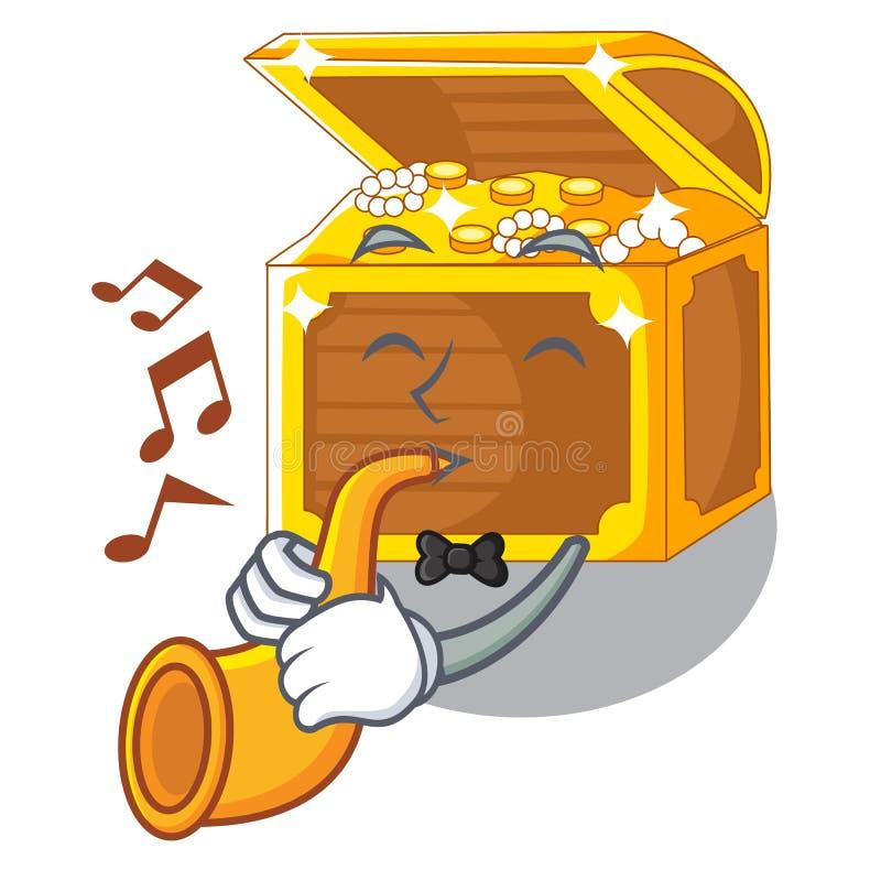 Con las historietas del submarino del tesoro de la trompeta en el agua stock de ilustración