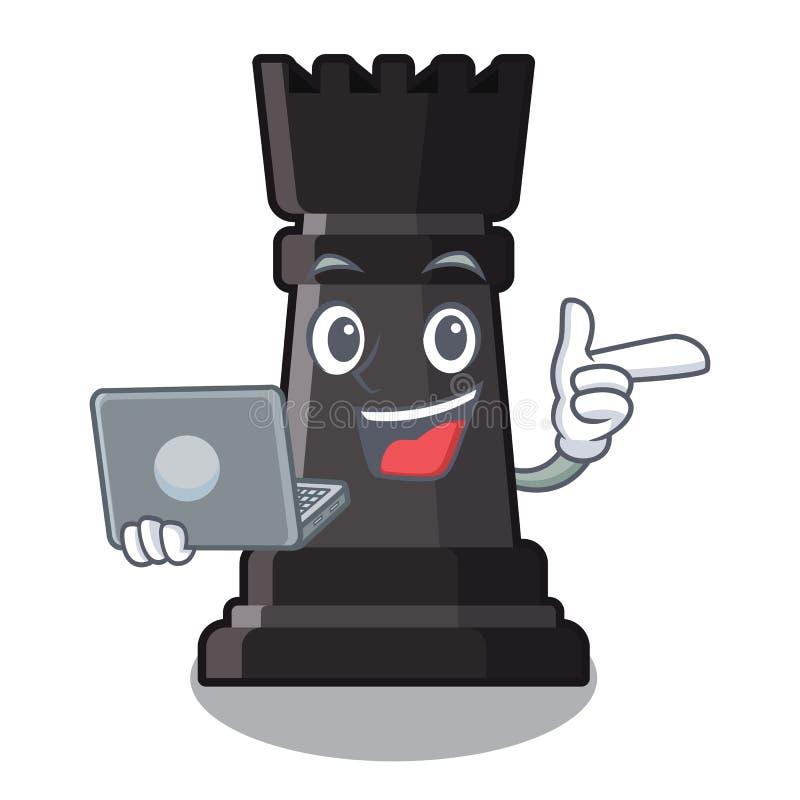 Con los juguetes del ajedrez del grajo del ordenador portátil sobre la tabla de la historieta stock de ilustración